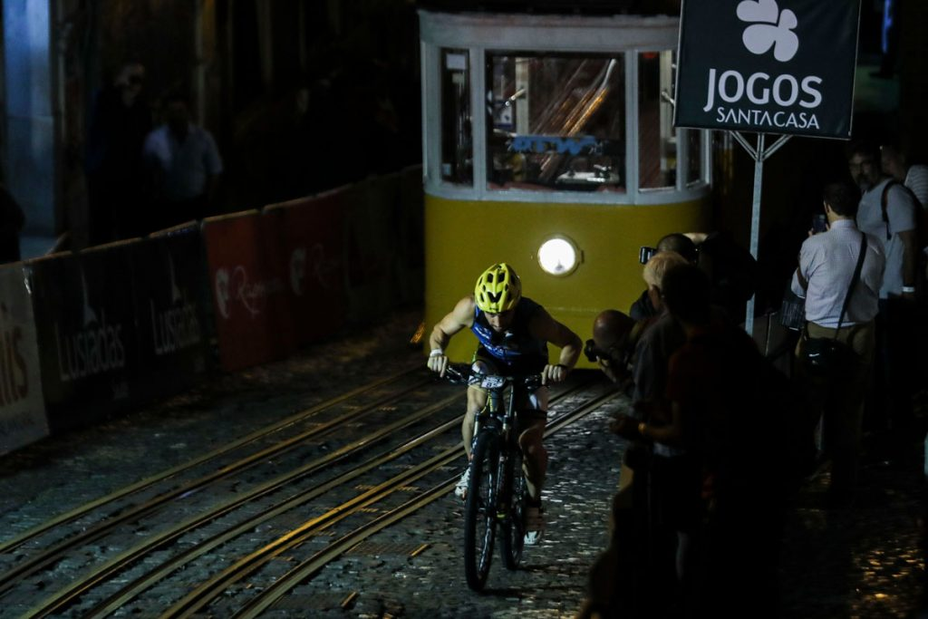 "A cyclist in competition on the ""Glory climb"" cycling race in Lisbon. Portugal."