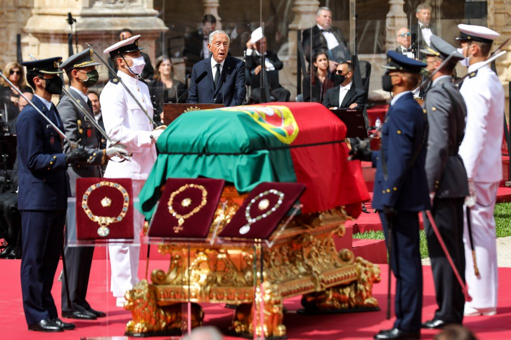 Portuguese President Marcelo Rebelo de Sousa during the funeral service for the late Portuguese President Jorge Sampaio at Jerónimos Monastery, Portugal, MIGUEL A. LOPES//LUSA